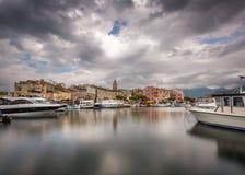 Hamn för St Florent i nordliga Korsika Royaltyfri Bild