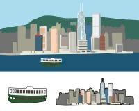 hamn Hong Kong victoria royaltyfri illustrationer