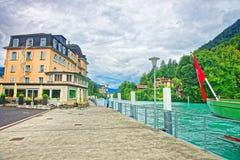 Hamn i Interlaken och Brienz sjön av Bern Canton Switzerland Royaltyfria Bilder