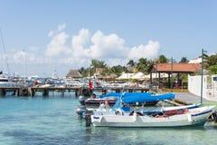 Hamn i Isla Mujeres, Mexico arkivfoto