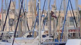 Hamn med yachter i Alicante, Spanien stock video