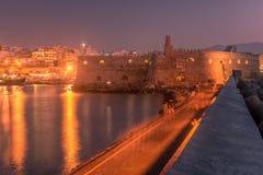 Hamn och gammal stad av Heraklion, Kreta, Grekland Arkivbilder