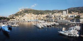 Hamn och horisont av Monte - carlo, Monaco Royaltyfri Foto
