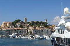 Hamn och marina på Cannes Arkivfoto