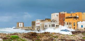 Hamn och strand i Trapani, Sicilien Royaltyfria Foton