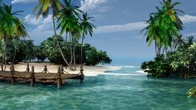 Hamn på en tropisk ö royaltyfri illustrationer