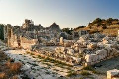 Hamnbad i den forntida Lycian staden Patara kalkon arkivbilder