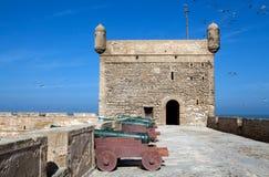 Hamnbefästningar på Essaouiraen fo Royaltyfria Foton
