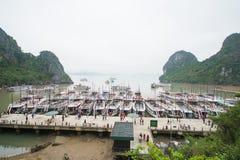 Hamnen på Dao går ön på den Halong fjärden, Vietnam Arkivfoton