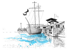 Hamnen skissar Arkivfoto