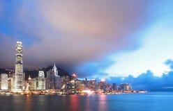 hamnHong Kong horisont victoria Arkivfoton