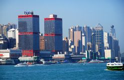 hamnHong Kong horisont victoria Royaltyfri Bild