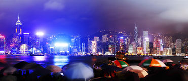 hamnHong Kong panorama- victoria sikter Arkivbilder
