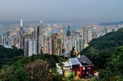 hamnHong Kong solnedgång Royaltyfri Bild
