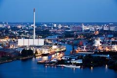 hamnindustrinatt royaltyfri bild