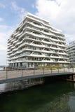 Hamnkvarter som bygger på den Århus ön och hamnen, Danmark Fotografering för Bildbyråer