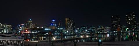 Hamnkvarternattpanorama Royaltyfri Bild