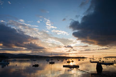 hamnmaine soluppgång Royaltyfri Bild