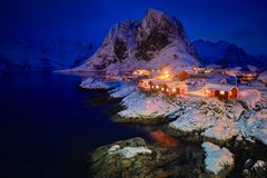 Hamnoy fishing village on Lofoten Islands, Norway stock photo
