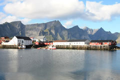 Hamnoy harbour's lofts Royalty Free Stock Photos