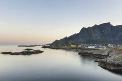 Hamnoy island during sundown on Lofoten Islands, Royalty Free Stock Photography