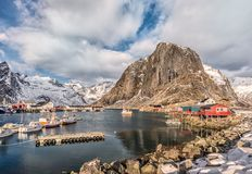 Port of Hamnoy, Lofoten, Norway. Hamnoy, Lofoten, Norway, view to the little port stock images