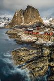 Hamnoy, Lofoten, Norway, view to the shore with red cottages. At sunrise stock images