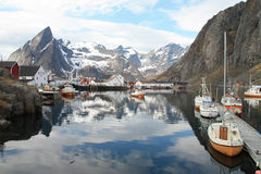 Hamnoy's boats and mirrors Stock Image