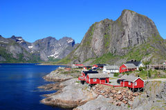 Hamnoy's  fishermen cabins   and  mounts Stock Images