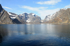 Hamnoy's fjord  with mounts Stock Photos
