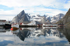 Hamnoy's harbour Royalty Free Stock Photo