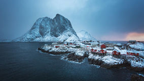Hamnoy village in winter Royalty Free Stock Photos