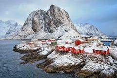 Hamnoy visserijdorp op Lofoten-Eilanden, Noorwegen Royalty-vrije Stock Afbeeldingen