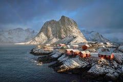Hamnoy wioska rybacka na Lofoten wyspach, Norwegia obrazy royalty free