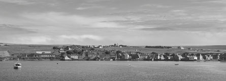Hamnpanoramautsikt för St Margaret Hope i Orkney scotland UK Arkivbilder