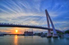 hamnplats för tamsui för solnedgång för brofiskarevän s Arkivfoto