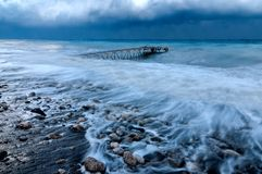 Hamnplats i havet under en orkan Royaltyfria Foton