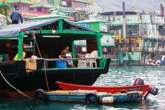 Hamnplats med Tankamannen i Aberdeen, Hong Kong Arkivbild