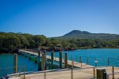 Hamnplats på den Rangitoto ön, Hauraki golf, Nya Zeeland i en solig dag Royaltyfri Bild