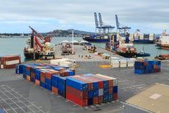 Hamnplatser och lastkranar på porten av Auckland, Nya Zeeland royaltyfri bild