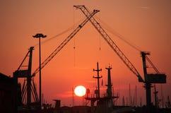 hamnsolnedgång Arkivfoton