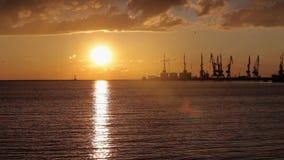 Hamnstad kranar i hamnstaden på solnedgången, stor hamnstad på solnedgången arkivfilmer