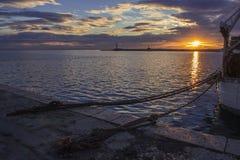 Hamnstad på solnedgången Royaltyfri Foto