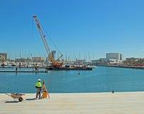 Hamnutvecklingsbyggande under konstruktion Barcelona Royaltyfri Bild
