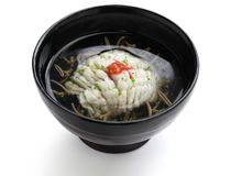 Hamo-wan, japanese cuisine. Hamo-wan, clear broth with hamo(pike conger eel) and junsai(water shield), japanese cuisine Royalty Free Stock Images