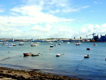 Hamoaze and Devonport dockyard. Royalty Free Stock Images