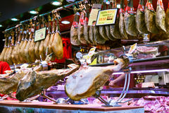 Hamon at Boqueria market. Barcelona, Spain Royalty Free Stock Images
