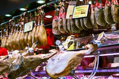 Hamon at Boqueria market . Barcelona, Spain Royalty Free Stock Photo