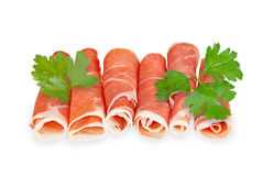 Hamon served with parsley isolated on a white Stock Photo