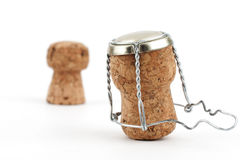 Сhampagne corks close-up on white background Stock Photography